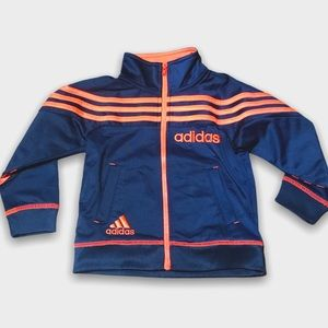 Navy Blue And Neon Orange Zip Up Adidas Jacket